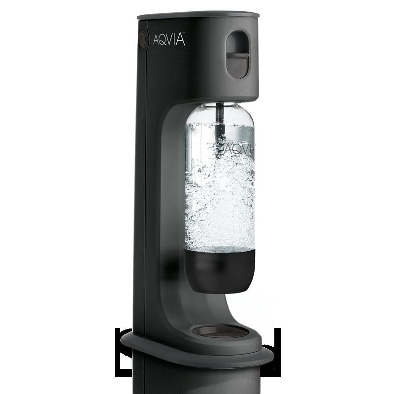 Aqvia dansk vands maskine med design flasker